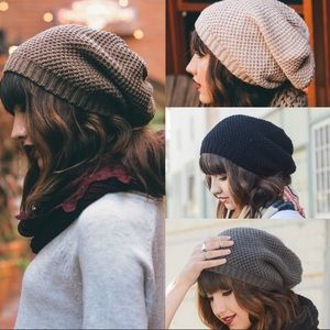 Waffle Knit Slouch Hat